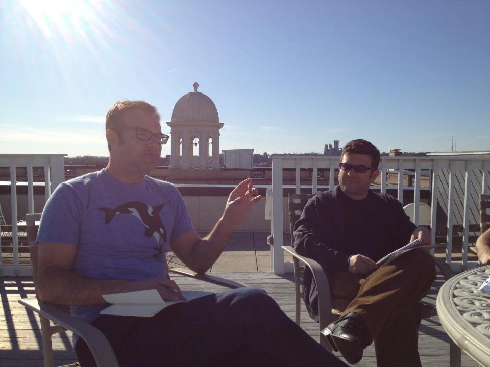 Story Circle on the roof with Derek Hills.