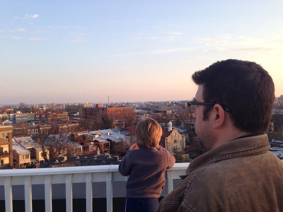 Luke looks out toward the Washington Monument.