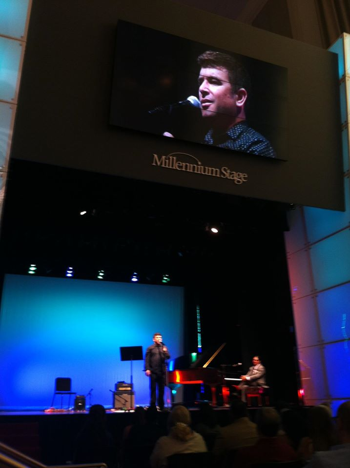 "Shrake performing in Brandon Wetherbee's YMTE ""Top 5"" at the Kennedy Center Millennium Stage. You haven't lived till you've been on the Jumbotron over by the snack bar in the Hall of Flags at the KC."