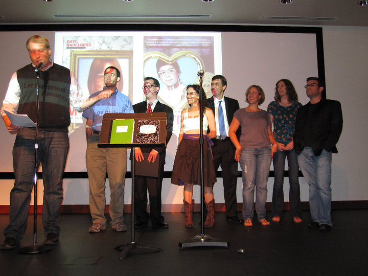 Shrake (far right) with Adam Ruben, Cathy Alter, and others in Mortified at the Phillips Collection museum in Washington, DC.