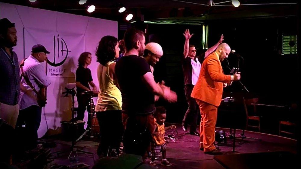 Shrake with back to camera, with Elahe Izadi, Haywood Turnipseed, Christian Hunt and others at Capital Fringe Festival, Washington, DC