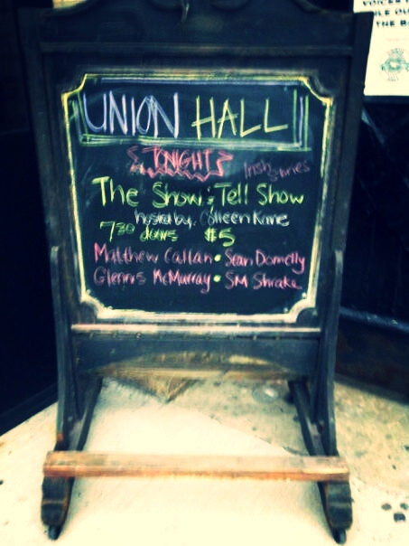 My name up in chalk in Brooklyn at Union Hall