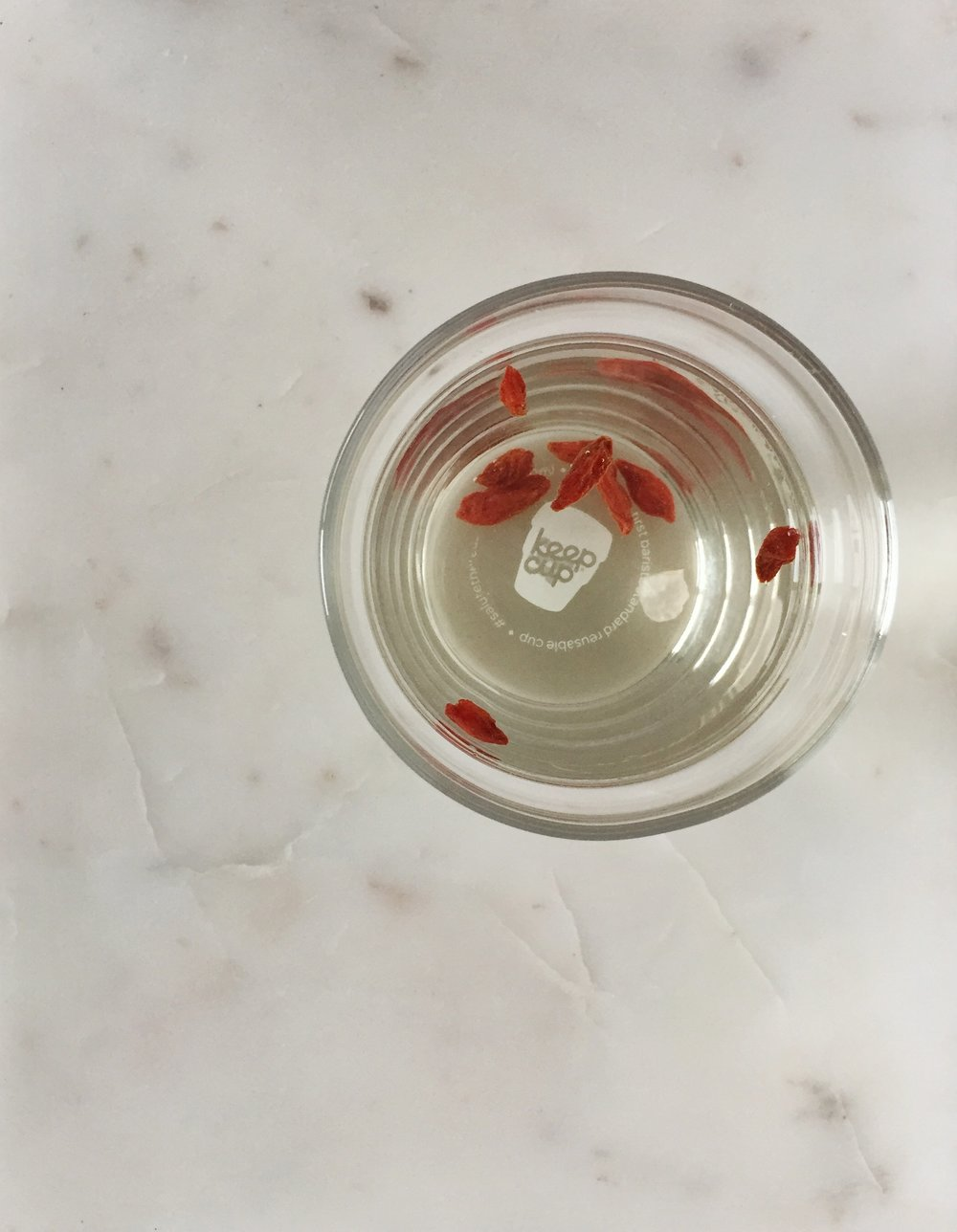 goji water - Add goji berries to your water for a daily dose of beta-carotene for radiant skin, daily dose of vitamin c for immune optimization, and antioxidants to help eradicate free radicals.