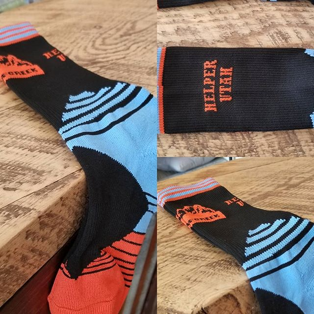 Check out our latest item!  Mid-length athletic socks for mountain bikers,  road bikers,  hikers,  etc. Look good and represent Helper/ Clear Creek Adventures.  Men's and women's sizes available.  #helper #utah #socks