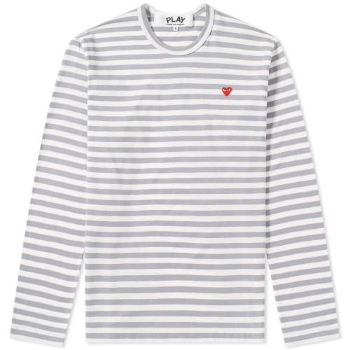 Comme Des Garçons Play Little Red Heart Long Sleeve Striped Tee