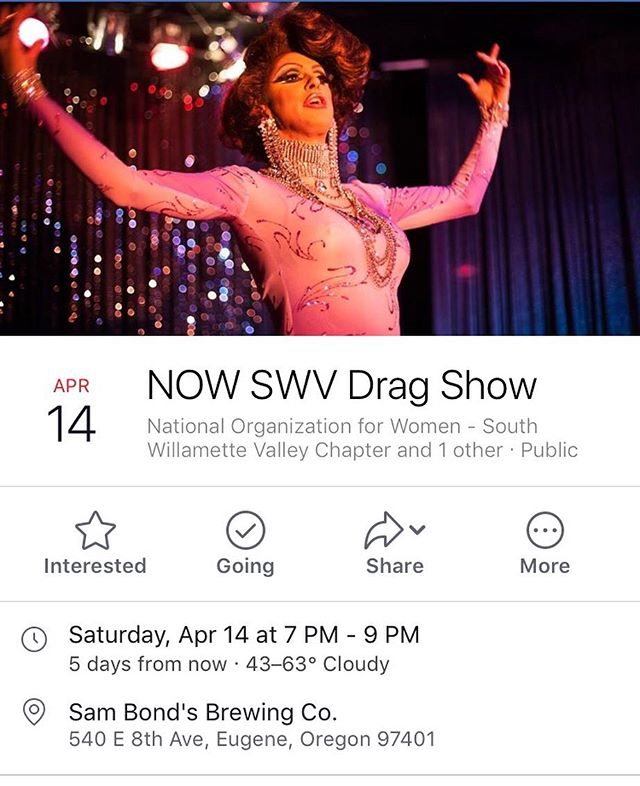 Come out to @sambondsbrewing for an outstanding night of fun, drag performances and raise funds for your local NOW chapter. See you Saturday! #dragshow #fundraiser #youreinvited #nationalorganizationforwomen #swvnow @nationalnow1 @mwillamettenow