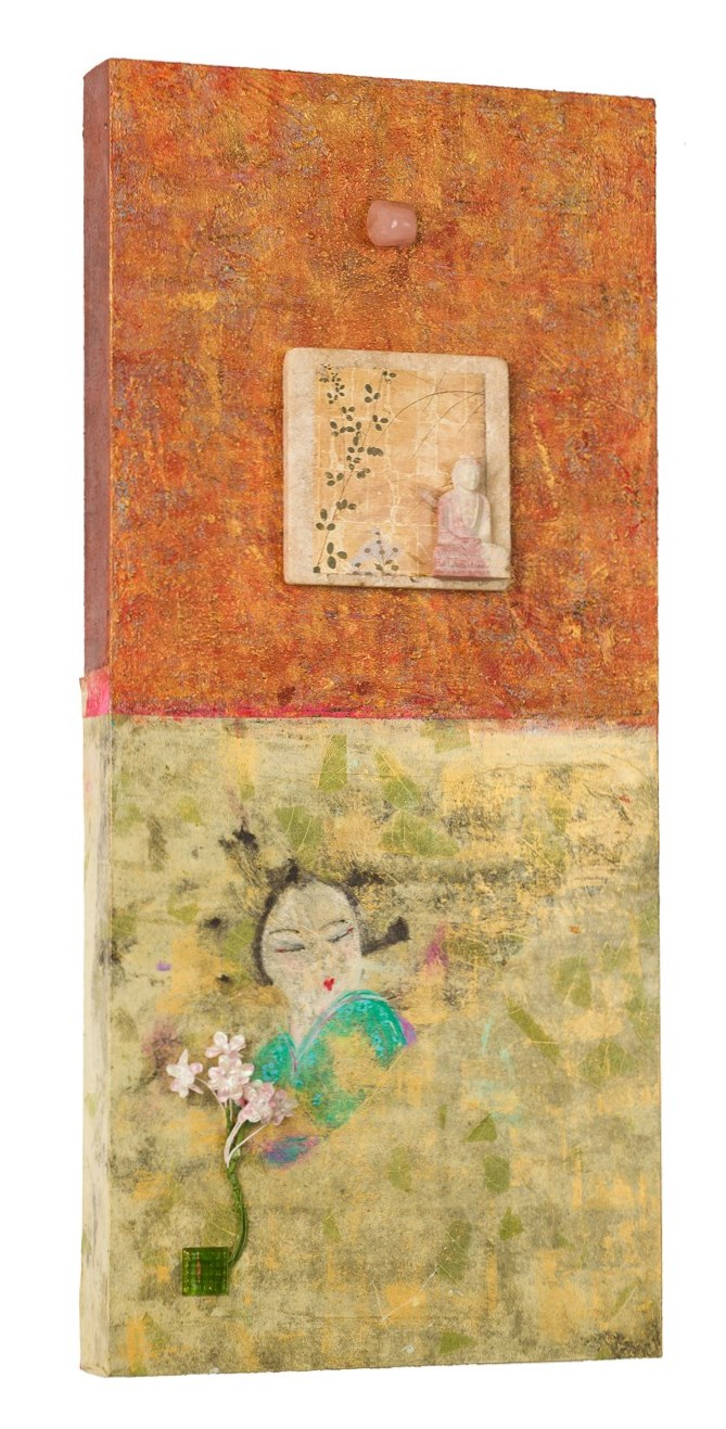 """""""Buddha and Geisha Together as One"""" with Rose Quartz, 2016   acrylic, mixed media on cradled wood panels, 9""""x22"""" Rose Quartz is a stone of the heart, a crystal of unconditional love. © Marilyn Grad"""