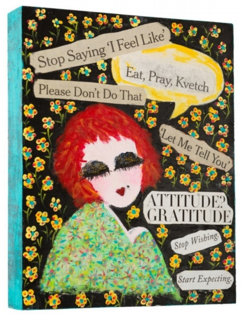 "Eat, Pray, Kvetch, 2016   8""x10"" Acrylic, Newsprint, Glitter on Cradled Wood Panel  SOLD"