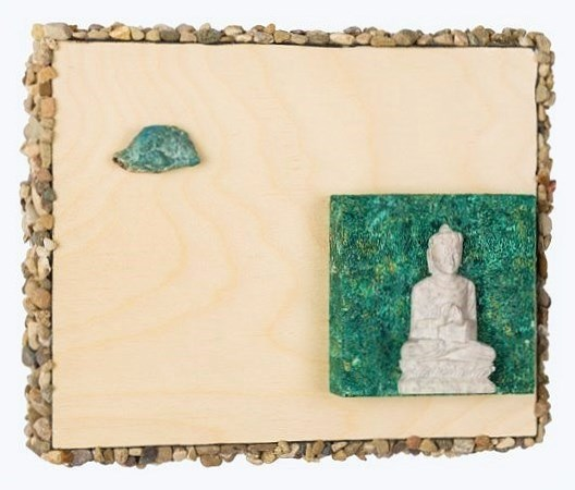 "Good Vibes All Around, Buddha with Blue Apatite, 2015   10""x8"" Acrylic, Stone carved Buddha, Stones, on Cradled Wood Panels  SOLD"