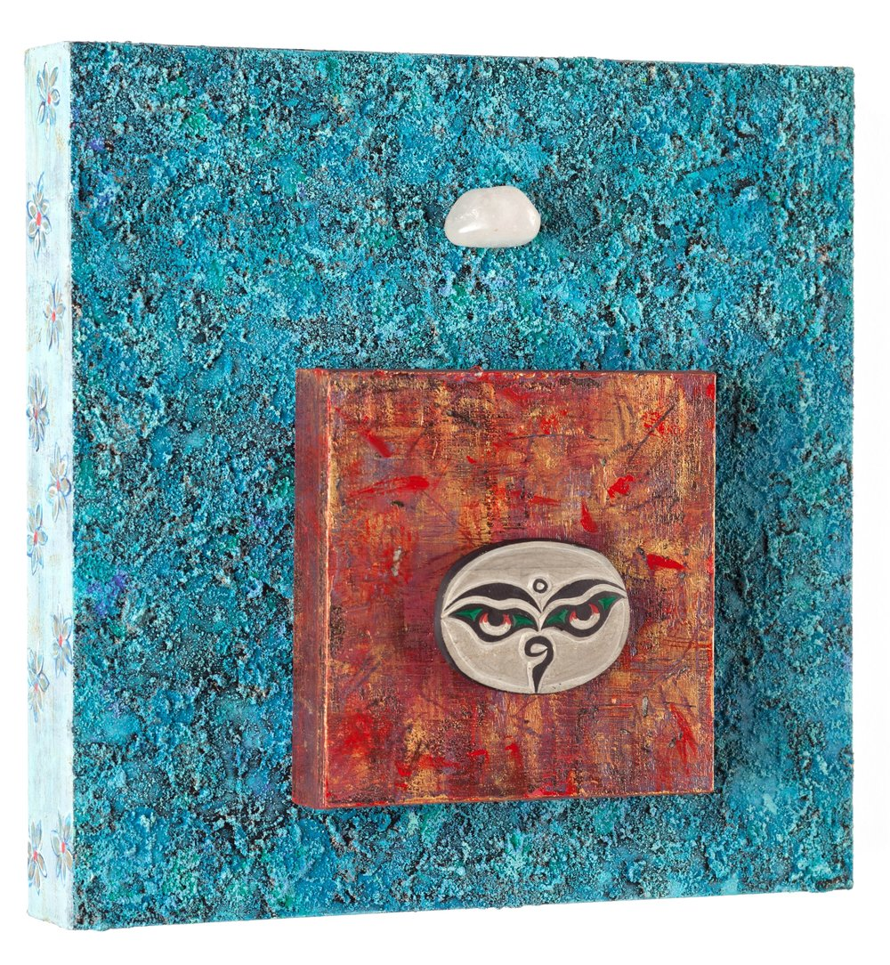 "Buddha Eyes: Try Compassion with Clear Quartz, 2015   acrylic, mixed media, on cradled wood panels, 10""x10"" Clear Quartz works on all areas of the mind and body, awakening and clarifying thought processes and removes negativity. © Marilyn Grad"