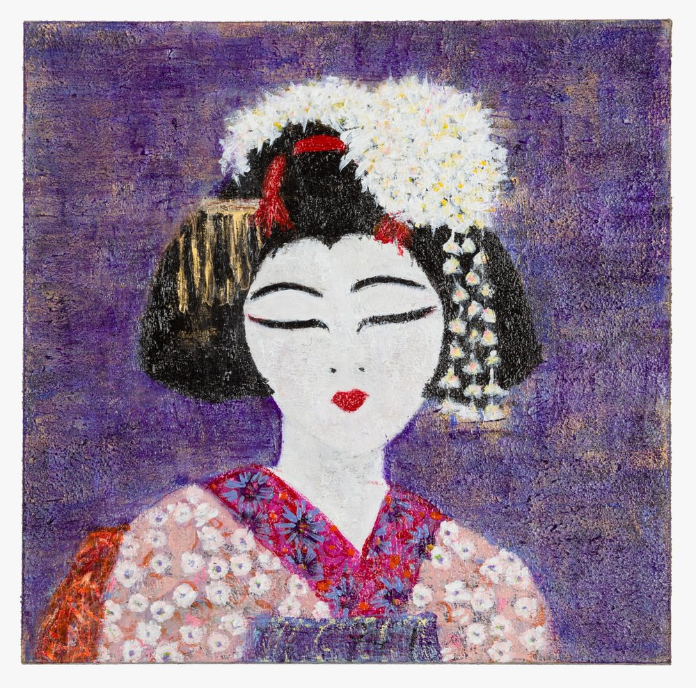 "Geisha with Color Purple, 2015  acrylic, molding paste on cradled wood panel, 8""x8"" © Marilyn Grad"