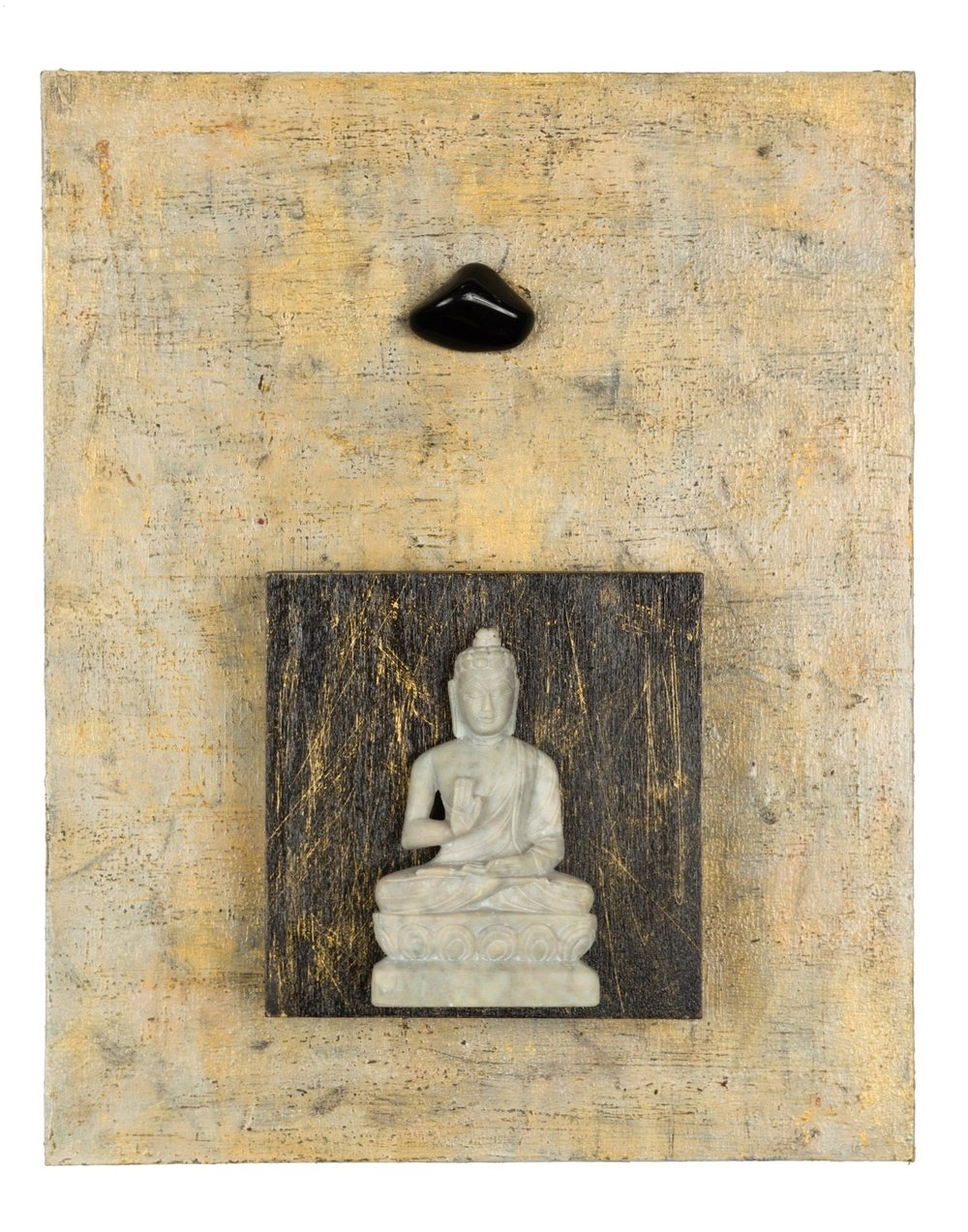 "Enough, No More Negativity, 2015 Buddha with Obsidian   acrylic, mixed media, on cradled wood panels, 8""x10"" Obsidian is a very protective stone, forming a shield against negativity and negative energy. It also is grounding and healing. SOLD"