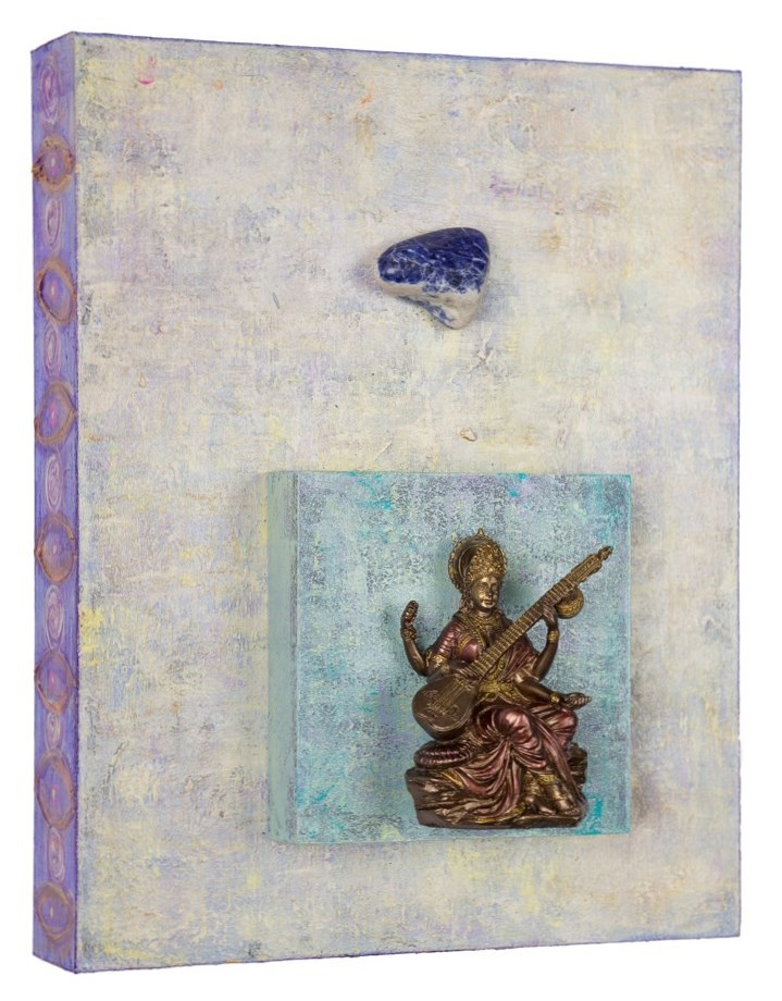 "Inspire Me Oh Muze No. 1, 2016 Saraswati with Sodalite   acrylic, mixed media on cradled wood panels, 8""x10"" Sodalite has a calming effect that helps to create order in the chaos that often surrounds creative types. © Marilyn Grad"