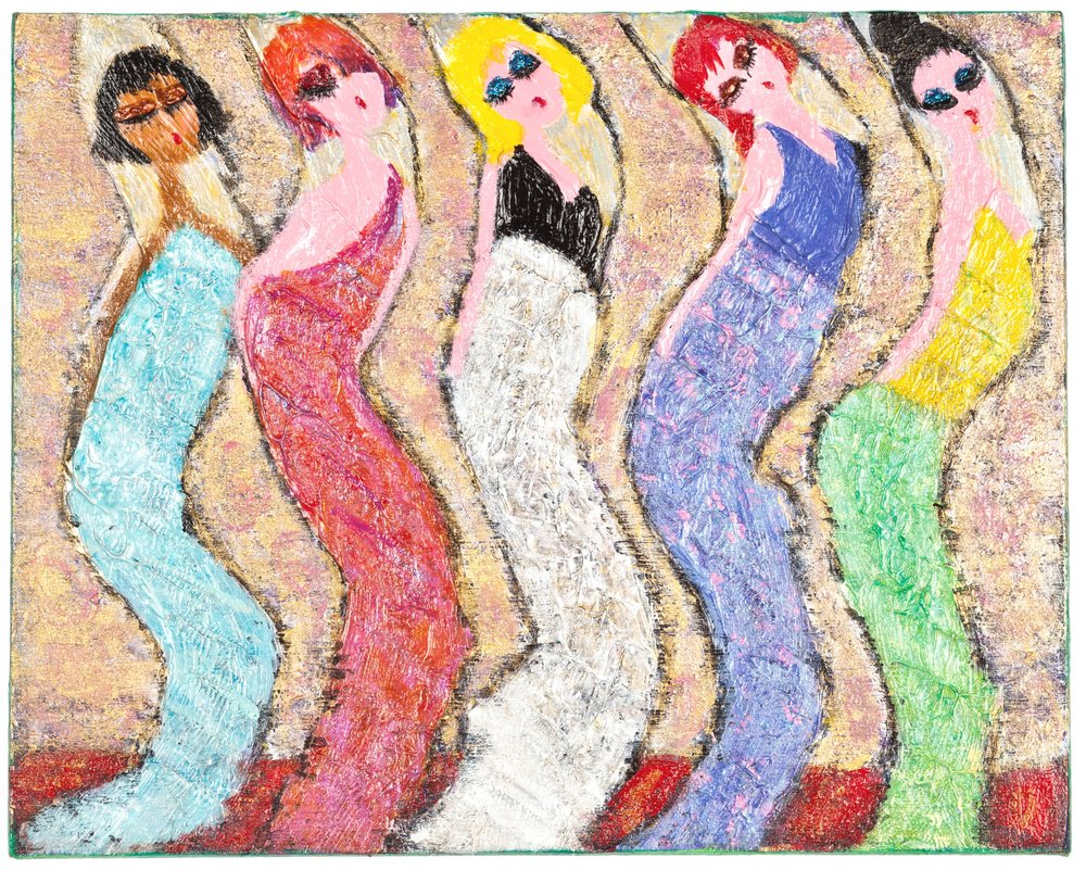 "Glam Girls Uptown Glam You Up, 2015   10""x8"" acrylic, molding paste, glitter on cradled wood panel  SOLD"