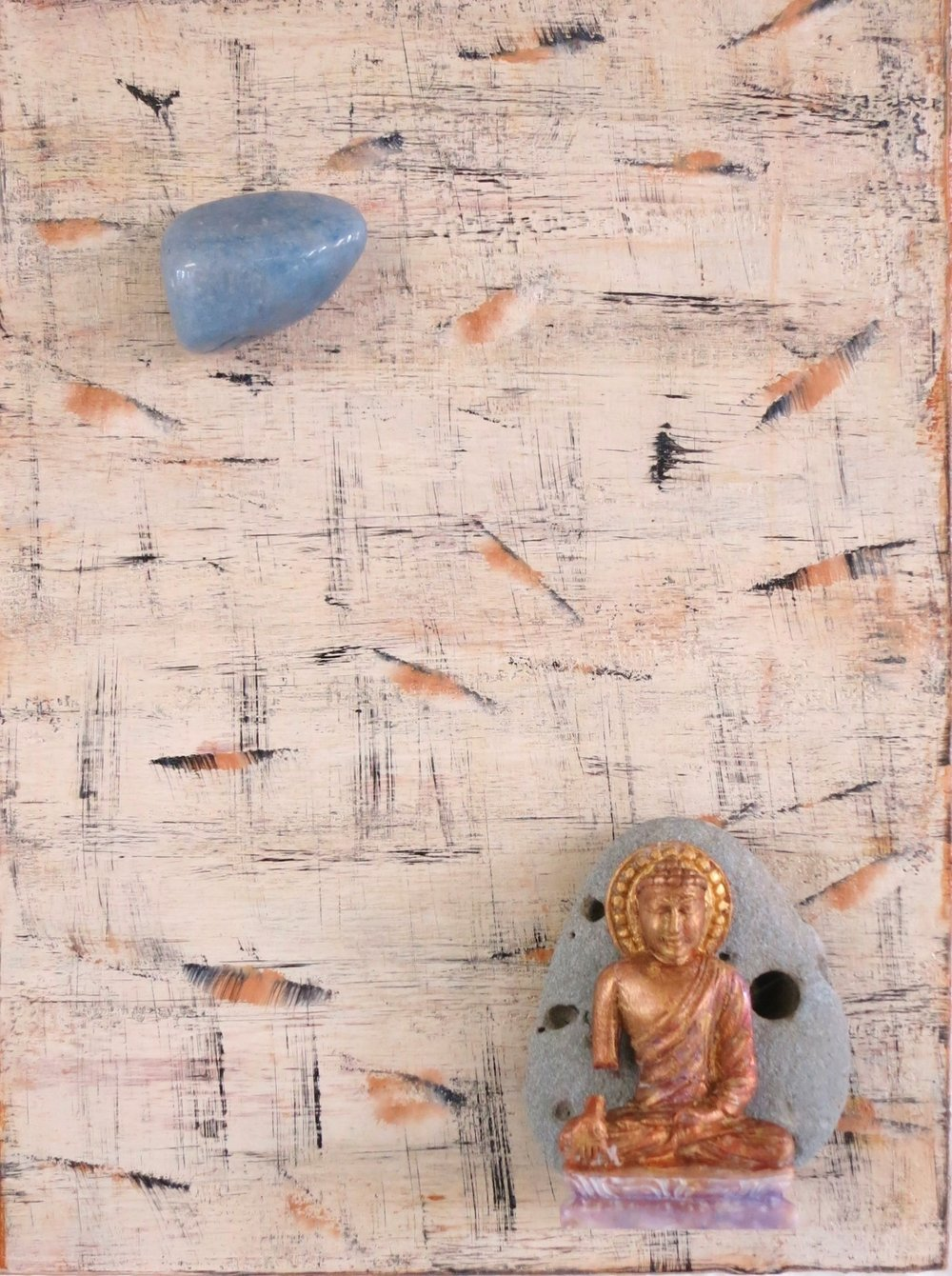 """""""External Chaos, Internal Calm"""", 2016  Buddha with Blue Lace Agate Acrylic, resin Buddha, Costa Rican sand stone on   6"""" x 8"""" on cradled wood panel Blue Lace Agate is a gentle, calming and protective stone that instills tranquility and grace."""