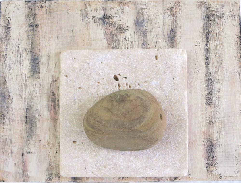 "Wood, Recycled Stone Tile and a Costa Rican Sand Rock, 2016 Acrylic on 8"" x 6"" on cradled wood panel"