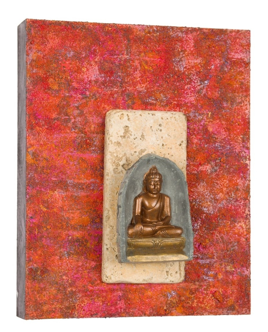 "Buddha: Peacefulness is Next to Godliness, 2015   acrylic, mixed media on cradled wood panel 8"" x 10"" ©Marilyn Grad"