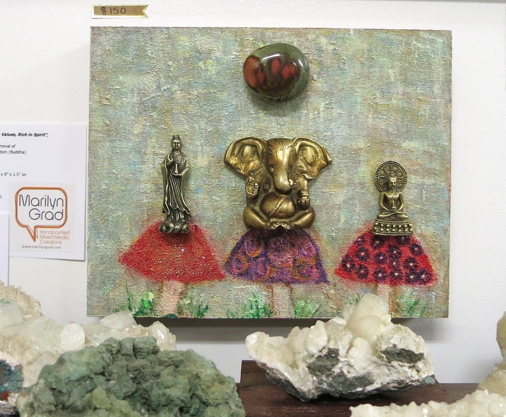 """Super 'shrooms: Rich in Spirit,   High in Values"" Guan Yin, Ganesh, and Buddha with Jasper gemstone. © Marilyn Grad 2018"