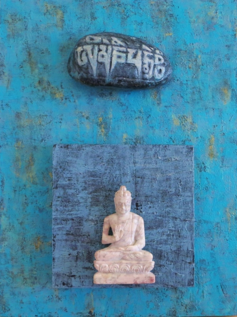 """ Even Buddha Gets The Blues with Om Mani Padme Hum   9"" x 12"" cradled wood panel  © Marilyn Grad 2018"