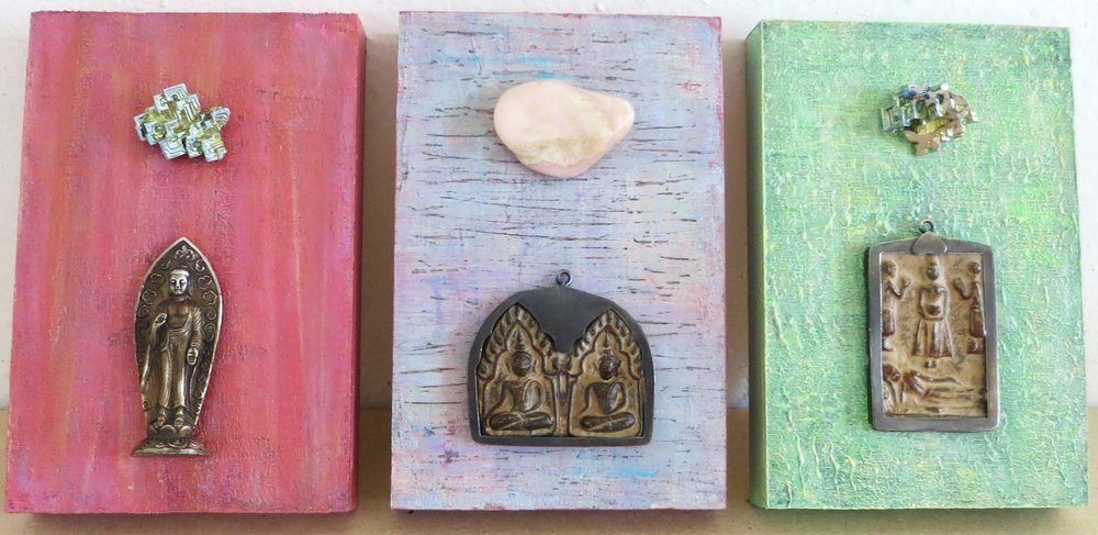"Acrylic, mixed media, crystals, gemstones, 4""x 6"" cradled wood panels © Marilyn Grad 2018"
