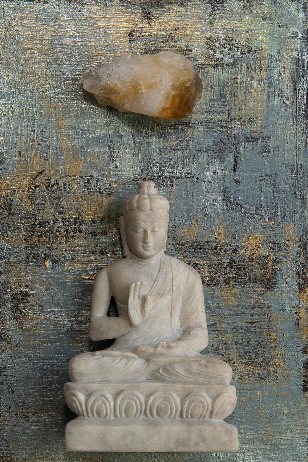 """I am Peaceful. I am Calm"" Buddha with Citrine."