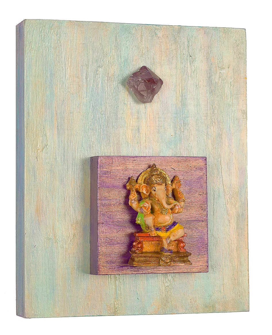 "Success and Contentment, 2015 Ganesh with Amethyst   acrylic, mixed media on cradled wood panels, 8""x10"" Amethyst is a meditative and calming stone that promotes calm, balance and peace. © Marilyn Grad"