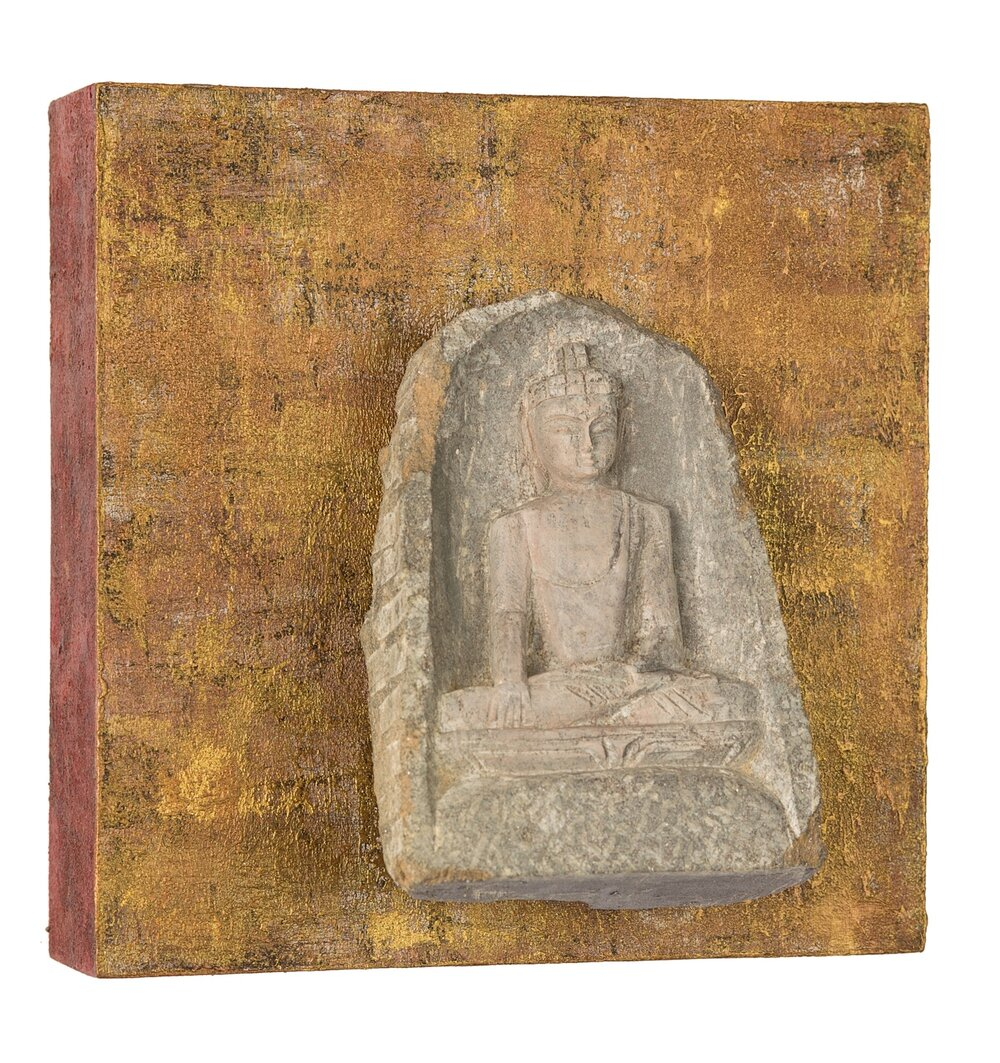 "Buddha: Me Time, 2016   acrylic, mixed media on cradled wood panel, 6""x6"" © Marilyn Grad  SOLD"