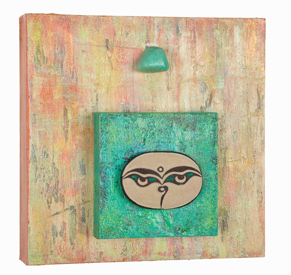 "Compassion Isn't Colorblind #2, 2014 Buddha Eyes with Amazonite   acrylic, mixed media on cradled wood panels, 8""x8"" Amazonite enables one to see a problem from another's pov in order to affect peace, or to see both sides of an issue objectively to resolve one's own inner conflicts. ©Marilyn Grad"