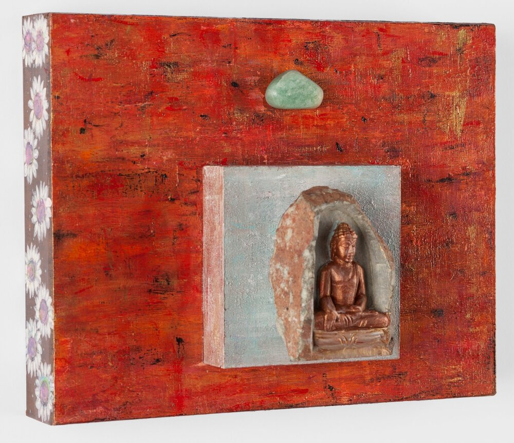 """All That's in Our Highest Good"""", 2015 Buddha with Green Aventurine    acrylic, mixed media , on cradled wood panels, 10""""x8"""" Green Aventurine is a stone of prosperity. It reinforces leadership qualities and decisiveness, promotes compassion and empathy. © Marilyn Grad"""