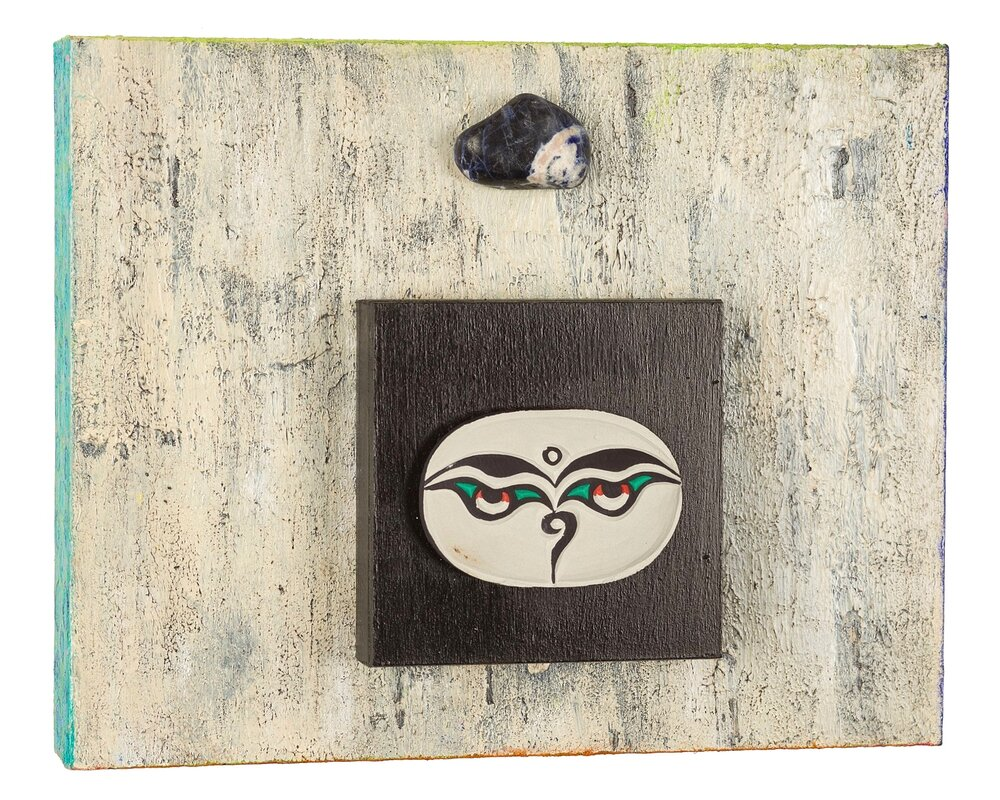 """Compassion Isn't Black and White...Look Around, 2014 Buddha Eyes with Sodalite""""   acrylic, mixed media on cradled wood panels, 10""""x8"""" Sodalite is a stone of logic, rationality and efficiency. It is particularly useful for honesty of emotions and love. © Marilyn Grad"""