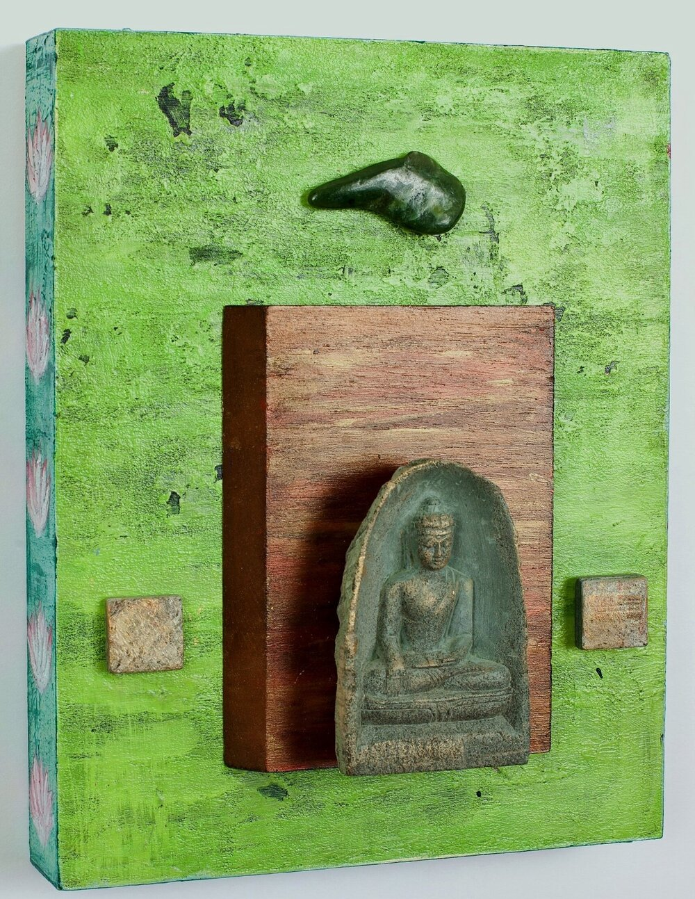 "Enter into the Quiet, 2014 Buddha with Nephrite Jade   acrylic, mixed media, on cradled wood panel, 8""x10"" Nephrite Jade is the ultimate stone to gain knowledge and encourage creativity. © Marilyn Grad"