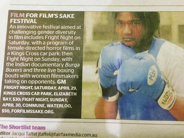 FFS making The Short List @sydneymorningherald ! Don't miss our closing event an All Girl Fight Night!!! Sunday at 5pm @twobirdsbrewing @thecommune @corporatefighter @gmaddox #boxing #boxingsydney #forfrothssake #forfilmssake_syd #ffsfest #burqaswag #burquini #femalefitness #femaleartist #fitnessgirl #megababes #films #festivals #femaleboxer #girlboxing