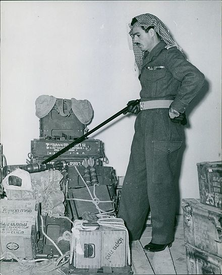 A Jordanian with captured Israeli military equipment