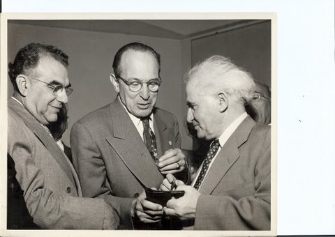 My Great Uncle Aaron on the left with David Ben Gurion in Boston, early 1950's.