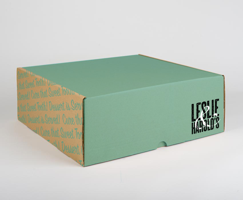 Leslie & Harold's Cake Box Design Mock-up