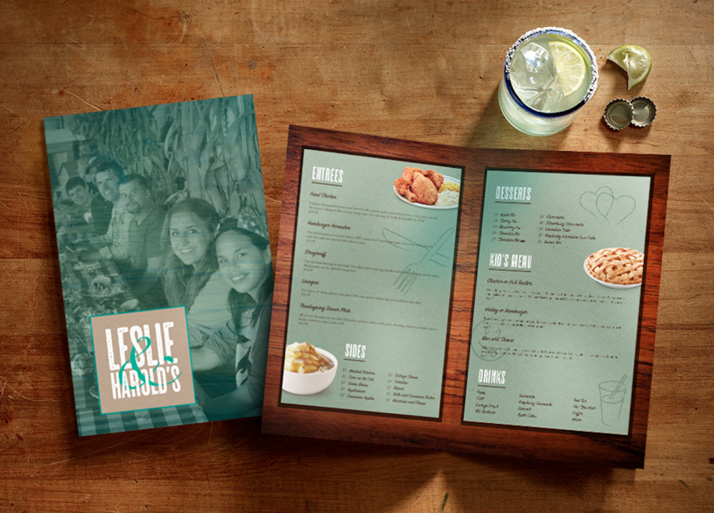 Leslie & Harold's Menu Mock-up