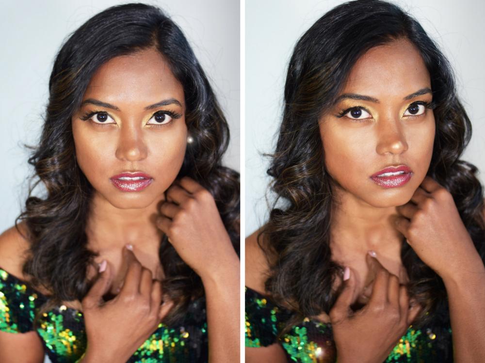 glam makeup look brown woman
