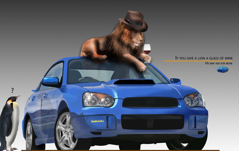 This is a project we did in collage. Our assignment was to create a car from scratch in Photoshop using a reference model. The penguin and lion I added just for fun. My professor got a kick out of it!