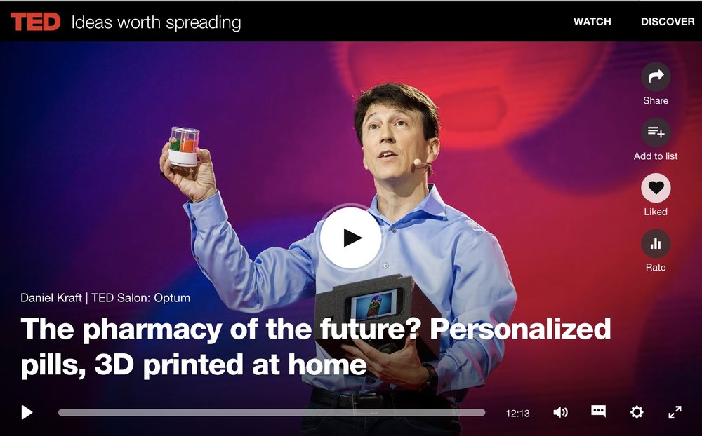 Daniel's latest TEDTalk : Unveiling his invention of new approach for personalized, precise, on demand medicine.  More of Daniel's  TEDTalks can be found here .