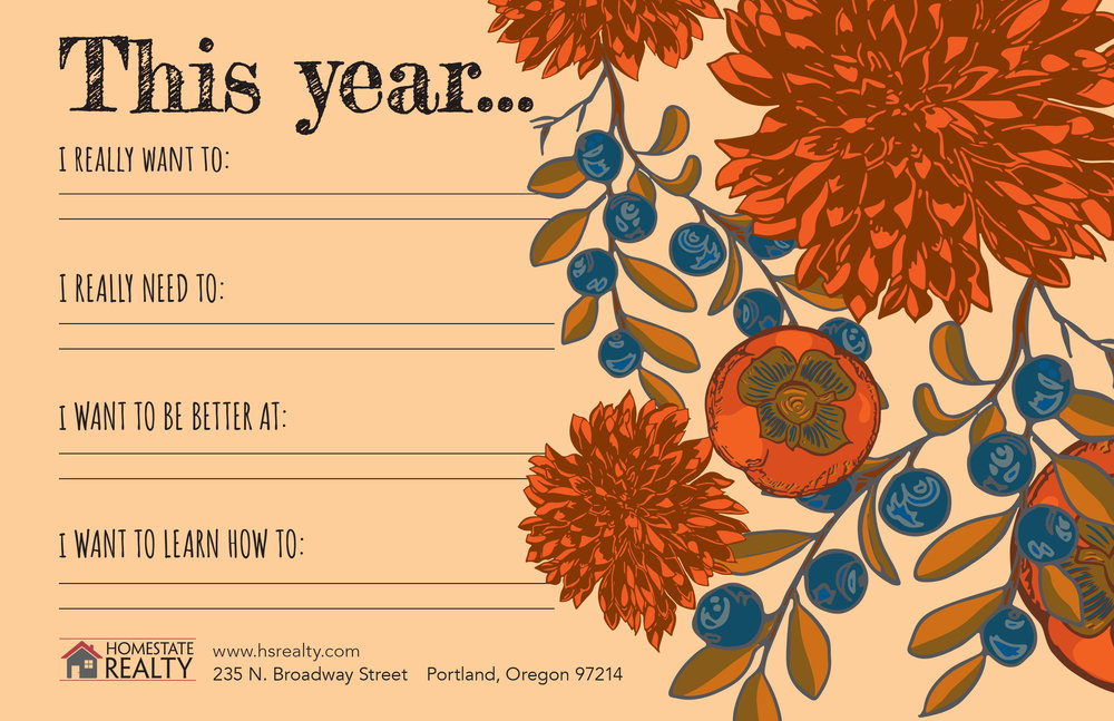 """Interactive and Reusable NYE Postcard Template and illustration: Back – 8.5"""" x 5.5"""""""