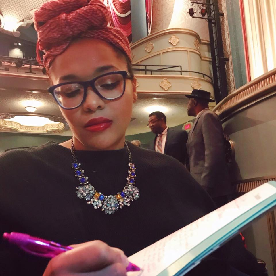 Ali reviewing speech notes at the Overture Center's Capitol Theater on Martin Luther King Jr. Day, where  she and Gaddi Ben Dan each received the 2018 City-County MLK Humanitarian Award .