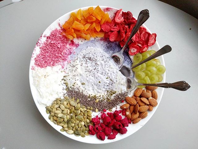 🌈C H I A ✨ P U D D I N G🌈 to share!  My kids love how colorful this is and my 4 year old helps me pick out and arrange the dried fruits and nuts.  And I love overnight #chiapudding because something to eat is already waiting for us when we wake up in the morning!  #plantedbased #plantedfamilies #wfpb #whole30 #refinedsugarfree #dairyfree #veganbreakfast #feed52 #feedfeedvegan #feedfeed #kidsactivity #kidsfood #easyhealthykids #healthyhappy #momlife #foodrevolution