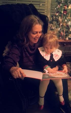 Lindsay reading a story during Christmas time