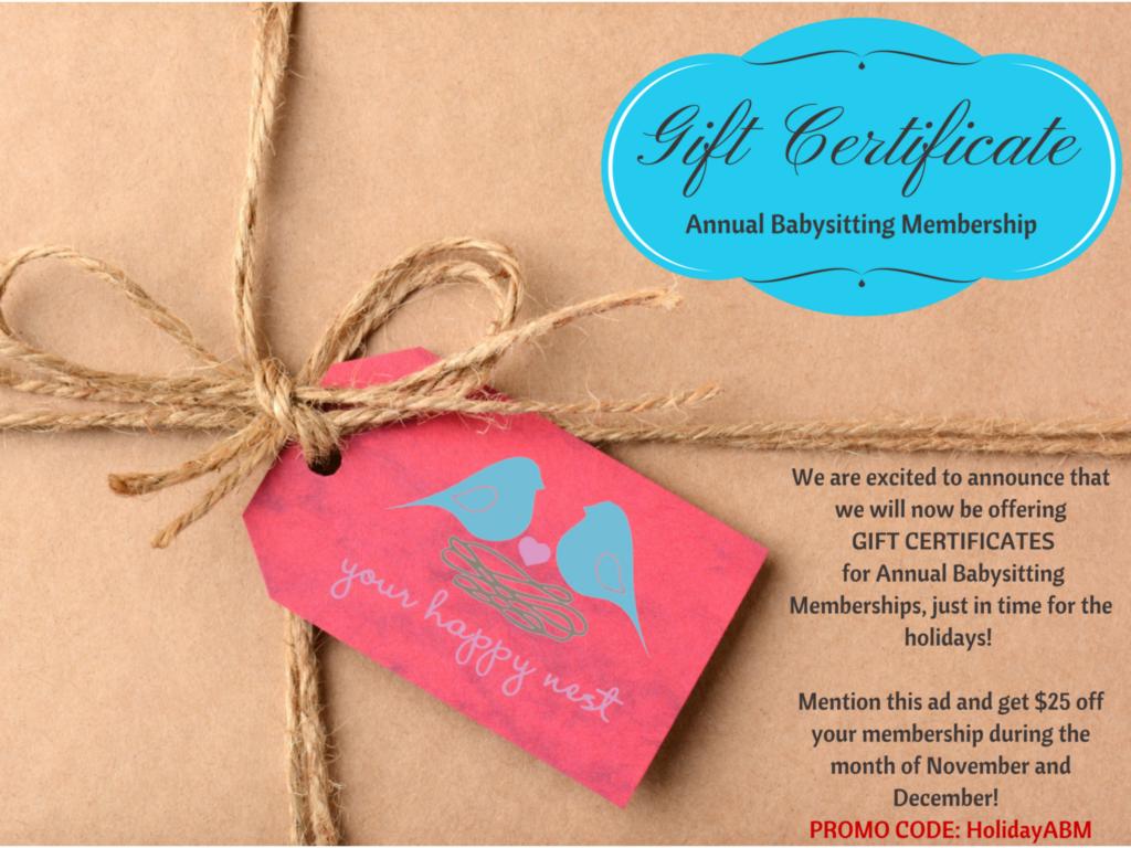 ABM gift certificate NEW