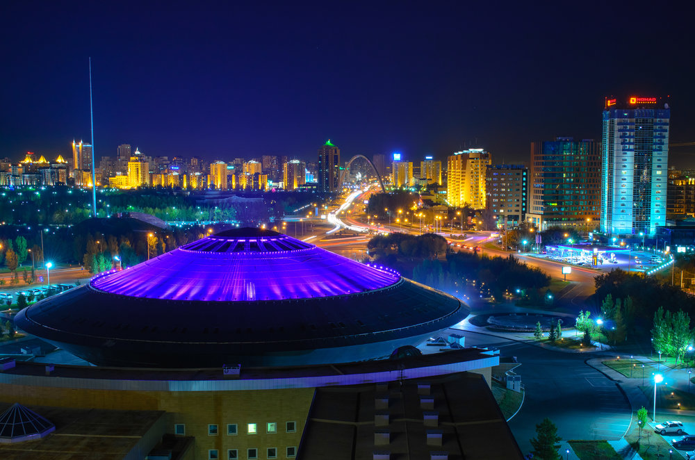 Astana Circus UFO at Night. Architect Tolegen Abilda, 2005. Photo: Evgeny Tkachenko.