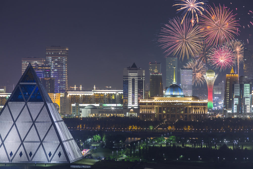 Astana Futuristic Utopian City Scape Fireworks, Alamy Stock Photography