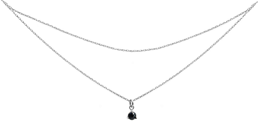 Sterling Silver Double Chain Midnight Sapphire Necklace