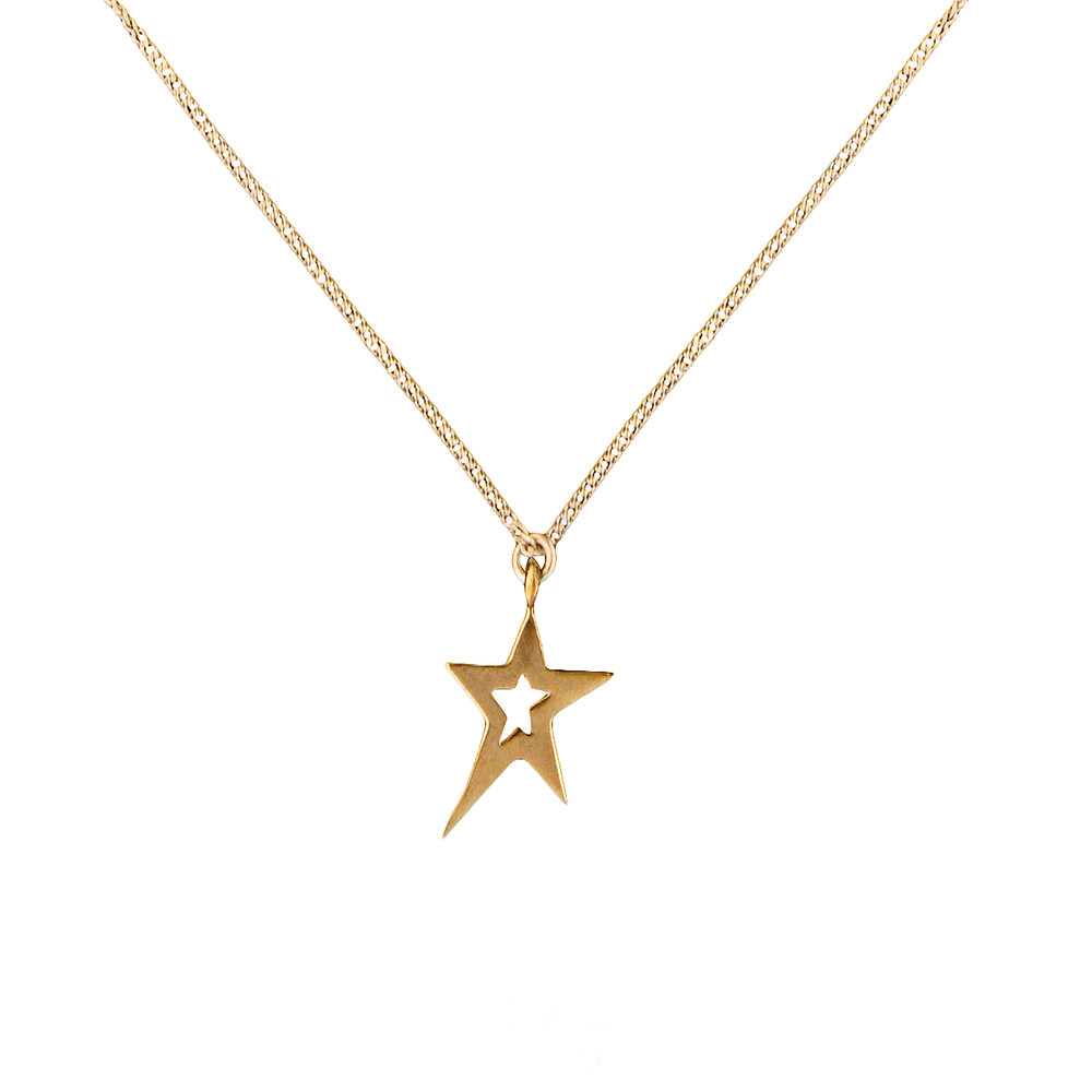 Gold Swinging Star Necklace