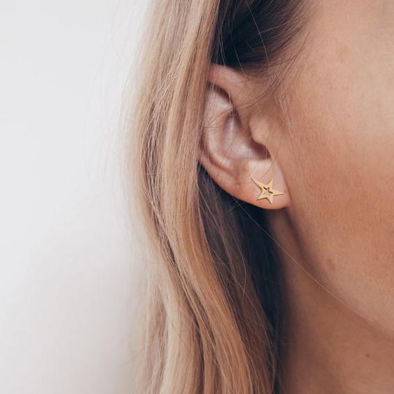 Gold Star Studded Earrings