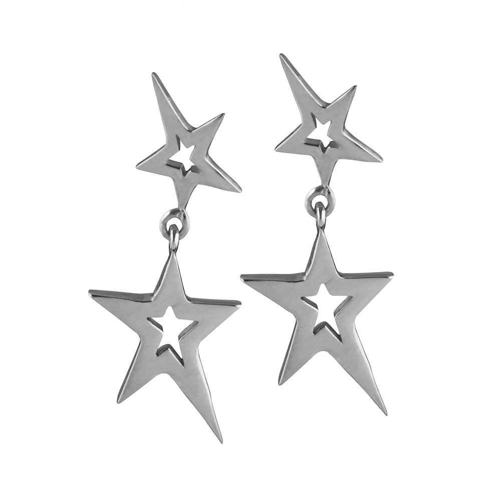 Sterling Silver Swinging Star Earrings
